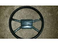 Land Rover Defender steering wheel.