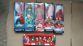 Spider man, Iron Man, super mario toys