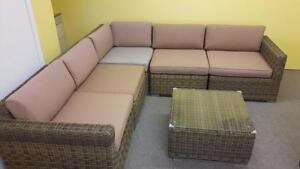 Floor Model Clearance! Outdoor Patio Wicker Sectional Sofa!Available  in Kamloops