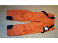 Mens Ski Salopettes XS / trousers / bottoms BRAND NEW with TAGS / Trespass Bezzy in Orange
