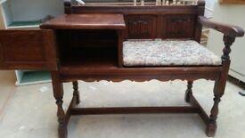 Telephone Table Dark Oak (Tudor design)