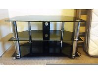 Black Glass Tv Stand Immaculate Condition.