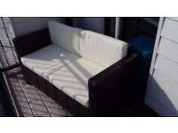 Rattan garden sofa incl cushions