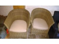 4 x Wicker Chairs With Cushions. Conservatory or Patio. (EX DISPLAY)