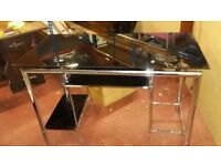 New, glass and stainless steel computer desk, black, free delivery or collection