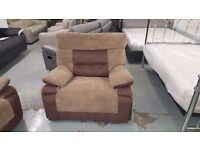 ScS CURVE BROWN MANUAL RECLINER ARMCHAIR **CAN DELIVER**