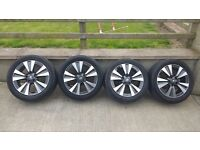 "Genuine Nissan Renault 17"" Alloy Wheels Set With Centre Caps & Tyres 5x114.3"