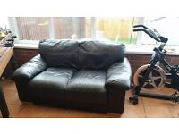 2x black leather 2 seater settees
