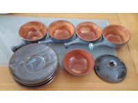 Blue Retro soup bowls with handles, saucers & bowl with lid