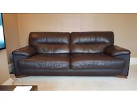 Chocolate brown leather sofa - 4 seater & 3 seater