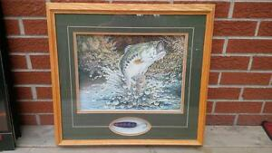 AWESOME BASS Fishing Print FRAMED with LURE