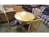 Round Extendable Pedestal Dining Table & 4 Chairs