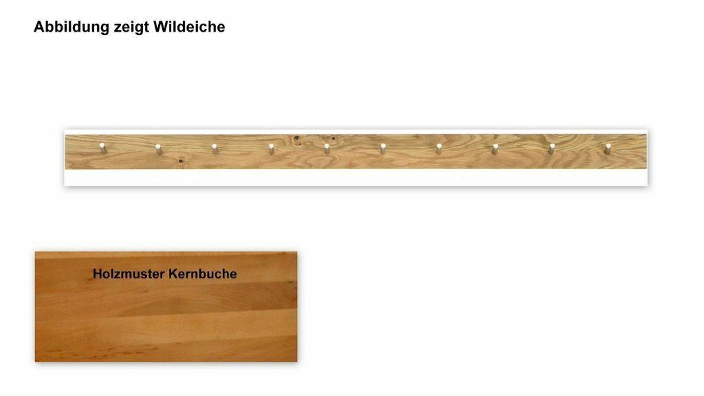 massivholz garderobe wildeiche oder kernbuche geolt hakenleiste wandgarderobe