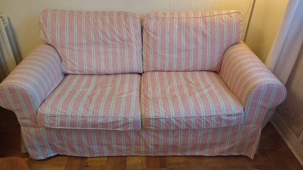 Ikea Ektorp 2 Seat Sofa Covers In Mobacka Beige Red Stripe Covers Only Great Condition In