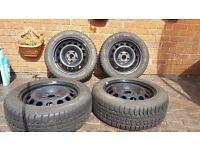STEEL WHEELS VW SEAT SKODA AUDI WINTER TYRES 205 55 16 GOLF CADDY LEON A3 5x112