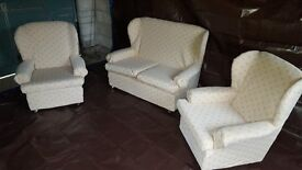 Small, Lightweight Three Piece Suite For Sale. Well cared for by owner, recently re-covered.