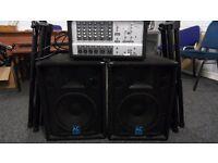 PA Equipment Phonic Powder 615 mixer and Speakers.
