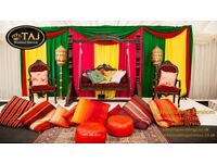 Asian Indian Wedding Mehndi Stages,Decor Marquee Tent Hire, Chair Covers, Wedding house Lights UB1