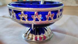 Blue Glass / Silver Sugar Bowl / Bon Bon Dish + Silver Spoon, Decorative Vintage