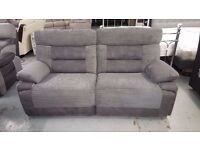 New ScS Curve 3 Seater Electric Recliner Fabric Sofa CAN DELIVER. Viewing / Collection Kirkby NG17