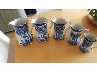 Antique Victoria Ware Ironstone Set of 5 Blue and White Jugs