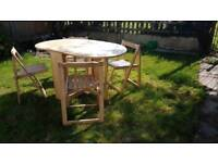4 seater Table and chairs, drop leaf