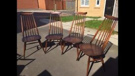 Vintage Ercol dining table and four chairs