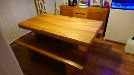 John Lewis Henry Oak Table and two benches