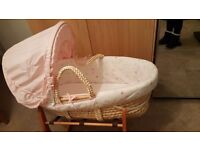 MOTHERCARE & MAMAS & PAPAS pink my little garden baby girl moses basket & wooden rocking stand