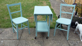 Beautiful Shabby Chic small folding table and two small chairs