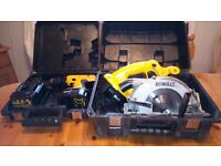Used Dewalt 18v cordless tool set, DRILL/CIRCULAR SAW/BATTERIES/CHARGER, see photos & details