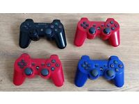 4 PS3 Controllers Bundle, 1 Original Sony Black, and 3 High Quailty Game Controllers, All Working