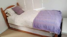 *REDUCED* Solid pine single bed with pull out lift up guest bed