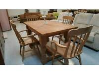 Solid pine dinning table and 4 carver chairs can deliver 07808222995
