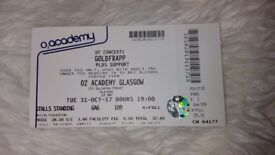 2 Tickets to see Goldfrapp plus support Tonight !! FREE !! Pick up Only