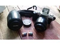 Pentax mz 50 + AF 70-300mm & 24-70mm LENS + Batteries + B+W Film