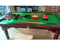 Riley Snooker Table 1/2 size - with Hardwood Dining Table Cover