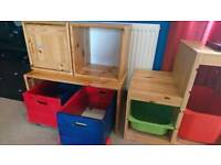 Flexa wheeled toyboxes and storage unit with two box cupboards