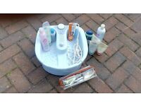 Foot spa stock and utensils to carry out tasks