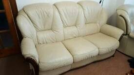 3 seater leather sofa and reclining chair