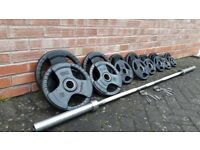 BODYMAX OLYMPIC RUBBER WEIGHTS SET WITH 7FT BARBELL