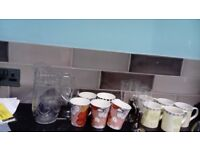 Clearance of cups champagne glasses and jug very reasonable price