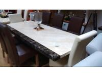 Engineered tenore marble dining table set