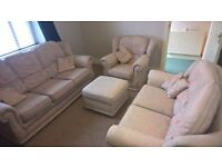 3 Piece Sofa Suite with Footrest and Many Cushions