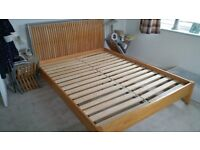Double bed Queen Size Beech wood frame in good condition.
