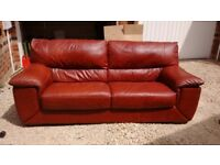 Leather sofa, chair and pouf