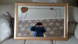 Rennie Mackintosh style mirror in bronze style frame and matching frame golf print