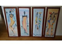 set of 4 african lady themed pictures