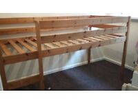 Mid sleeper solid pine bed in good condition