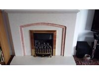 Cream marble fire surround with gas fire- nearly new